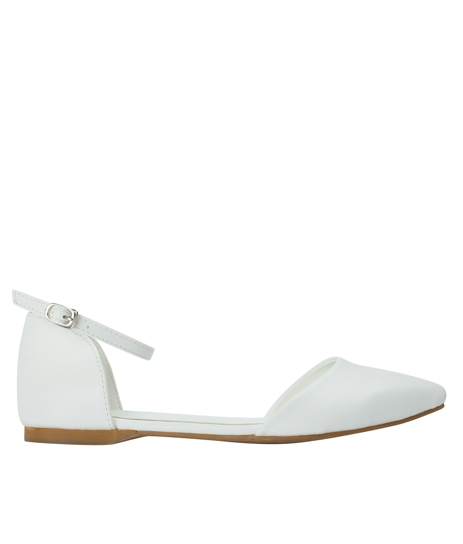 fe524338caf AnnaKastle Womens Pointed Toe Ankle-Strap d Orsay Flats White