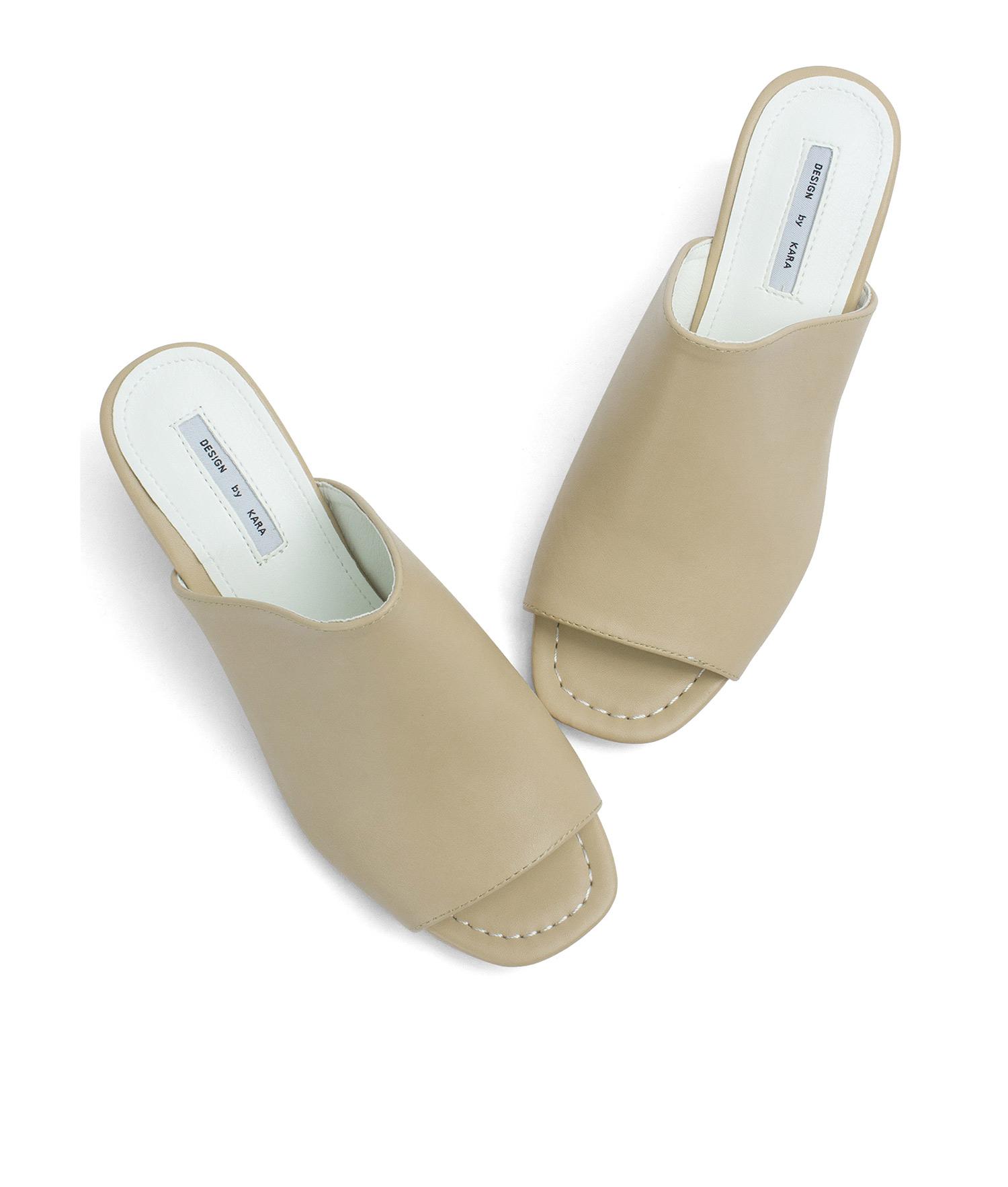 428a6fec90e AnnaKastle Womens Faux Leather Open Toe Mule Heels Beige