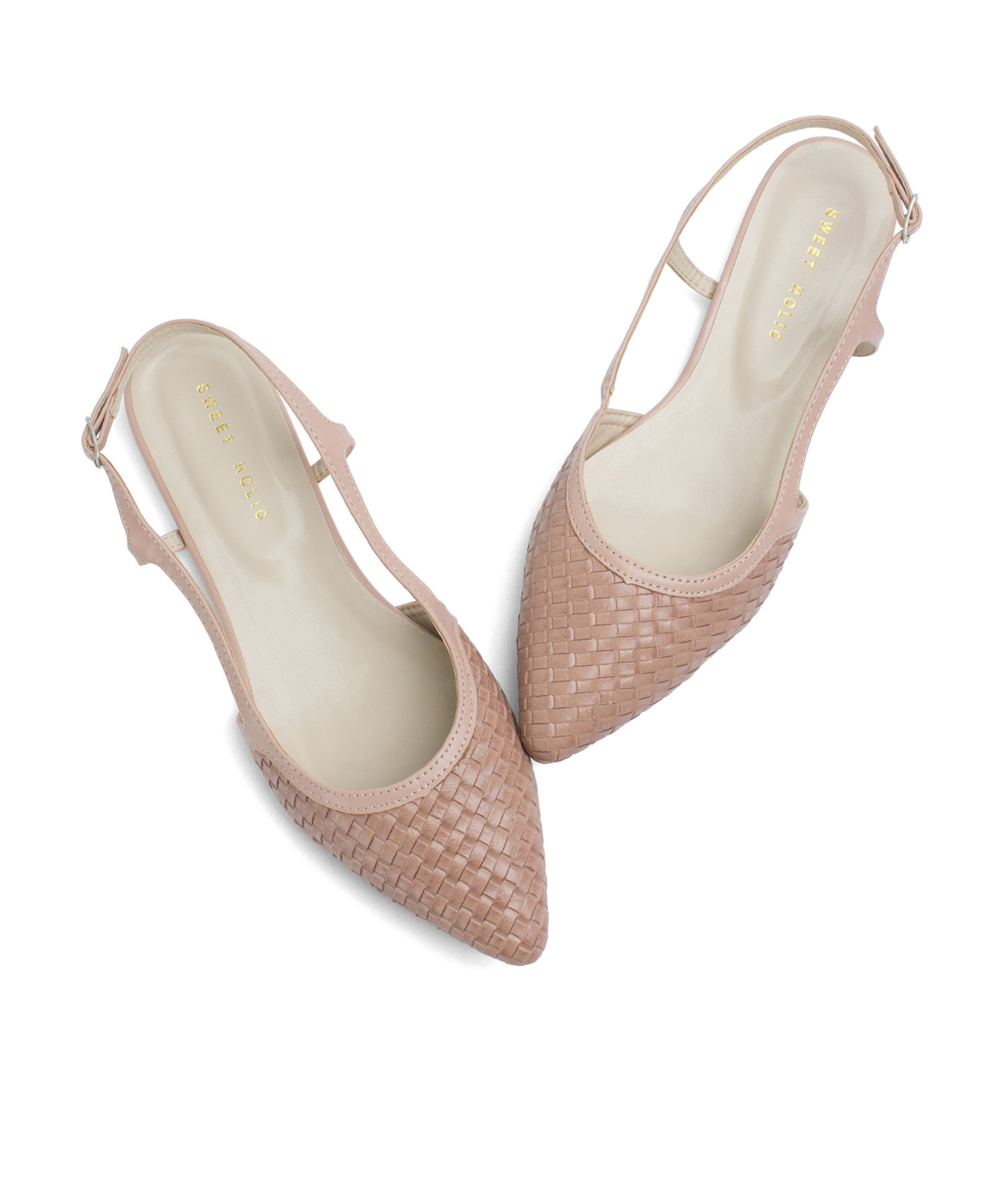 3b4bc83217562 Pointy Toe Slingback Flats with Weave Effect