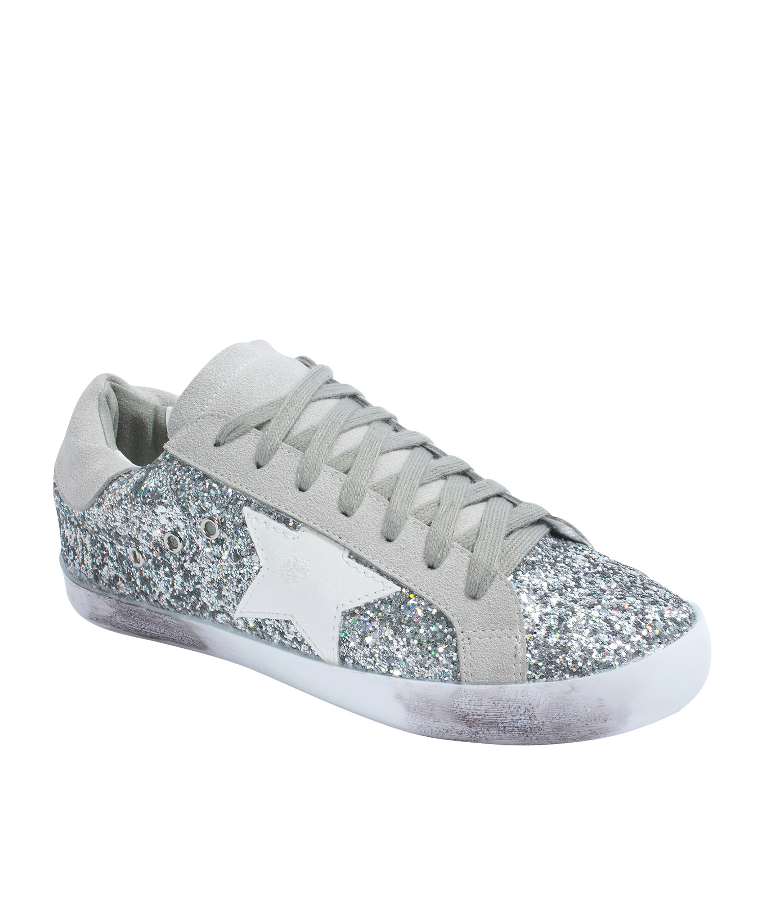 Low Top Silver Glitter Sneakers - annakastleshoes.com 1df2ef600