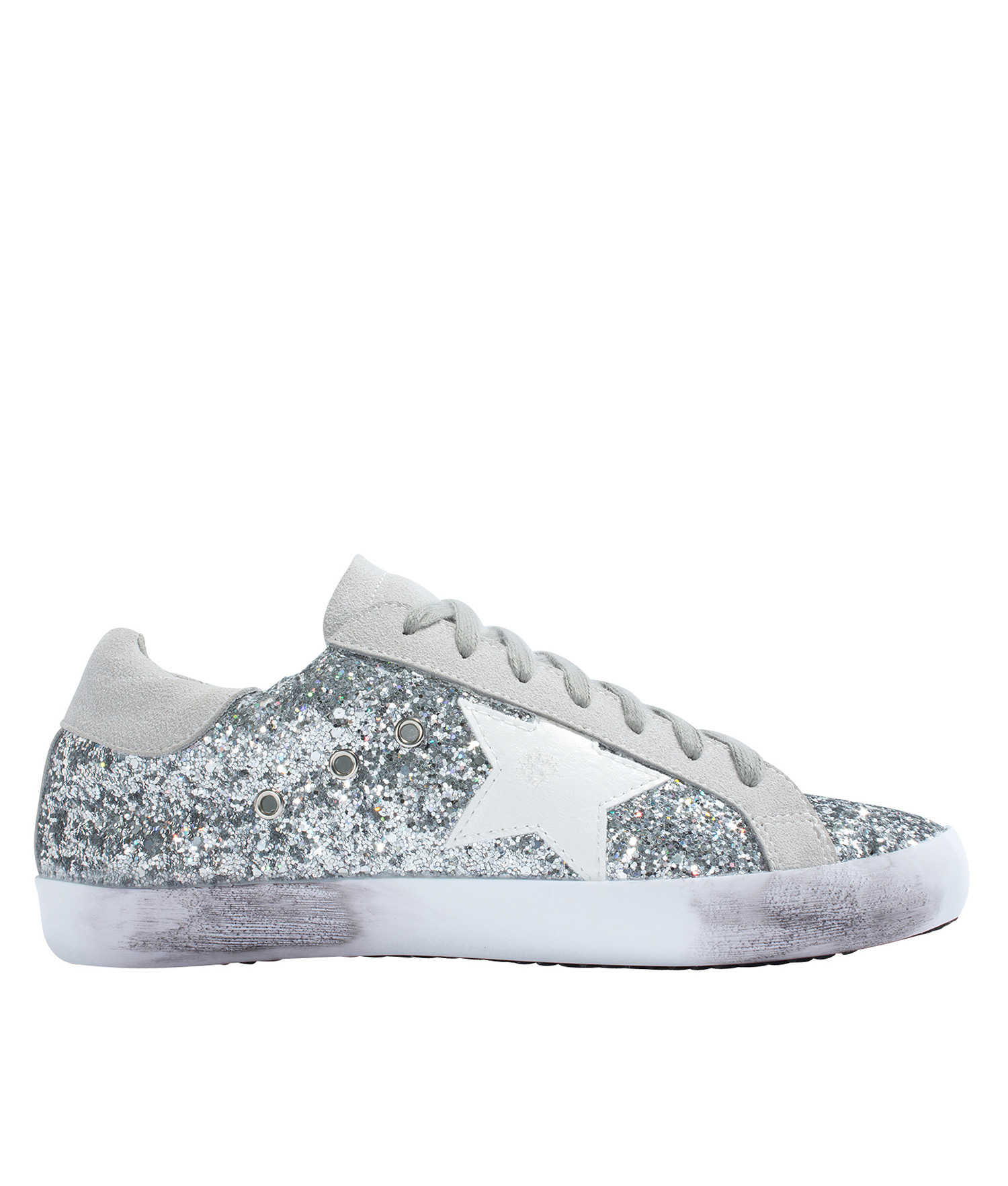 Low Top Silver Glitter Sneakers Annakastleshoes Com