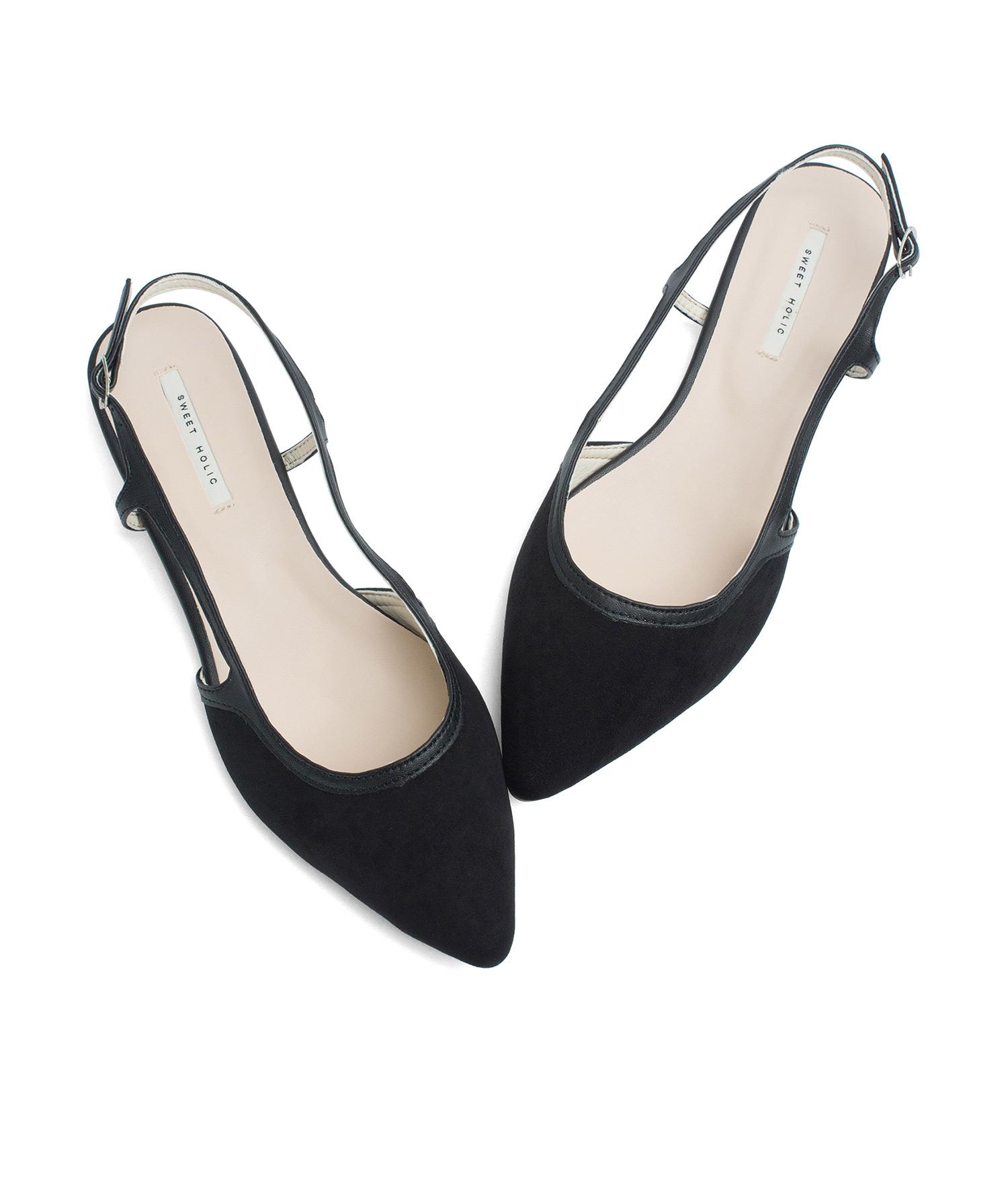 AnnaKastle Womens Faux Suede Pointed Toe Slingback Flats Black 75e46f45f4