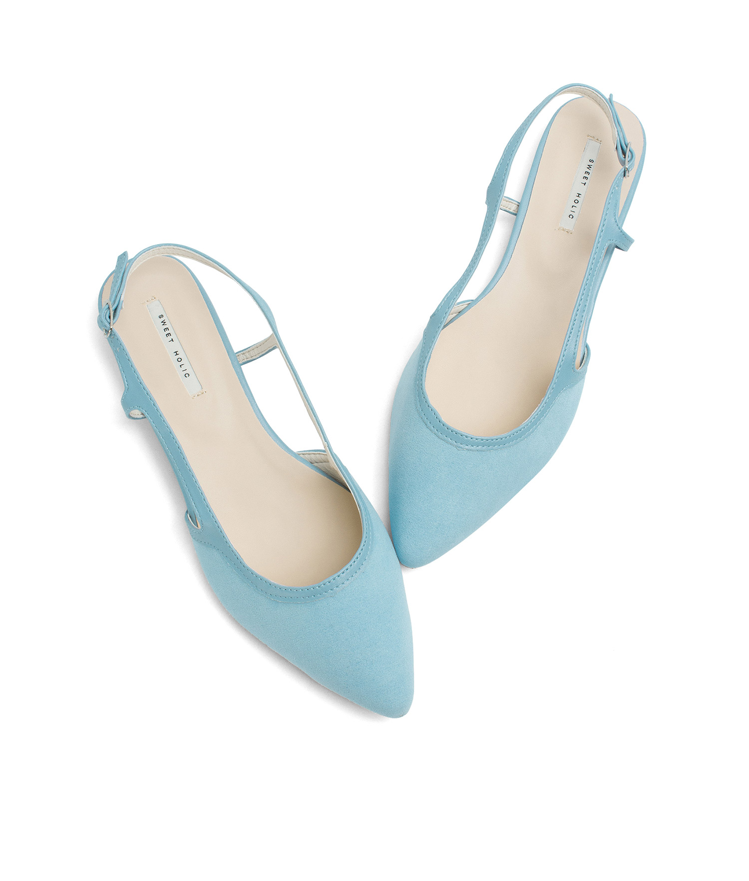 7b59288cac499 AnnaKastle Womens Faux Suede Pointed Toe Slingback Flats Light Blue