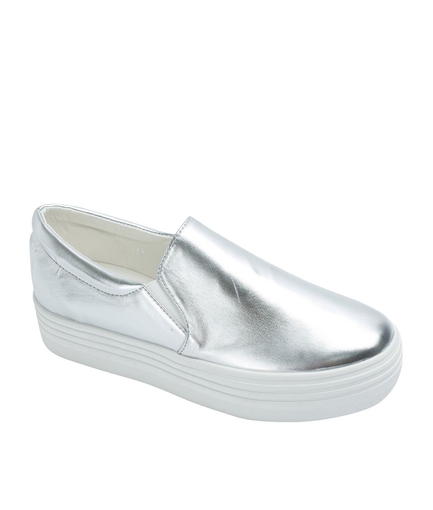 Classic Faux Leather Platform Slip On Sneakers