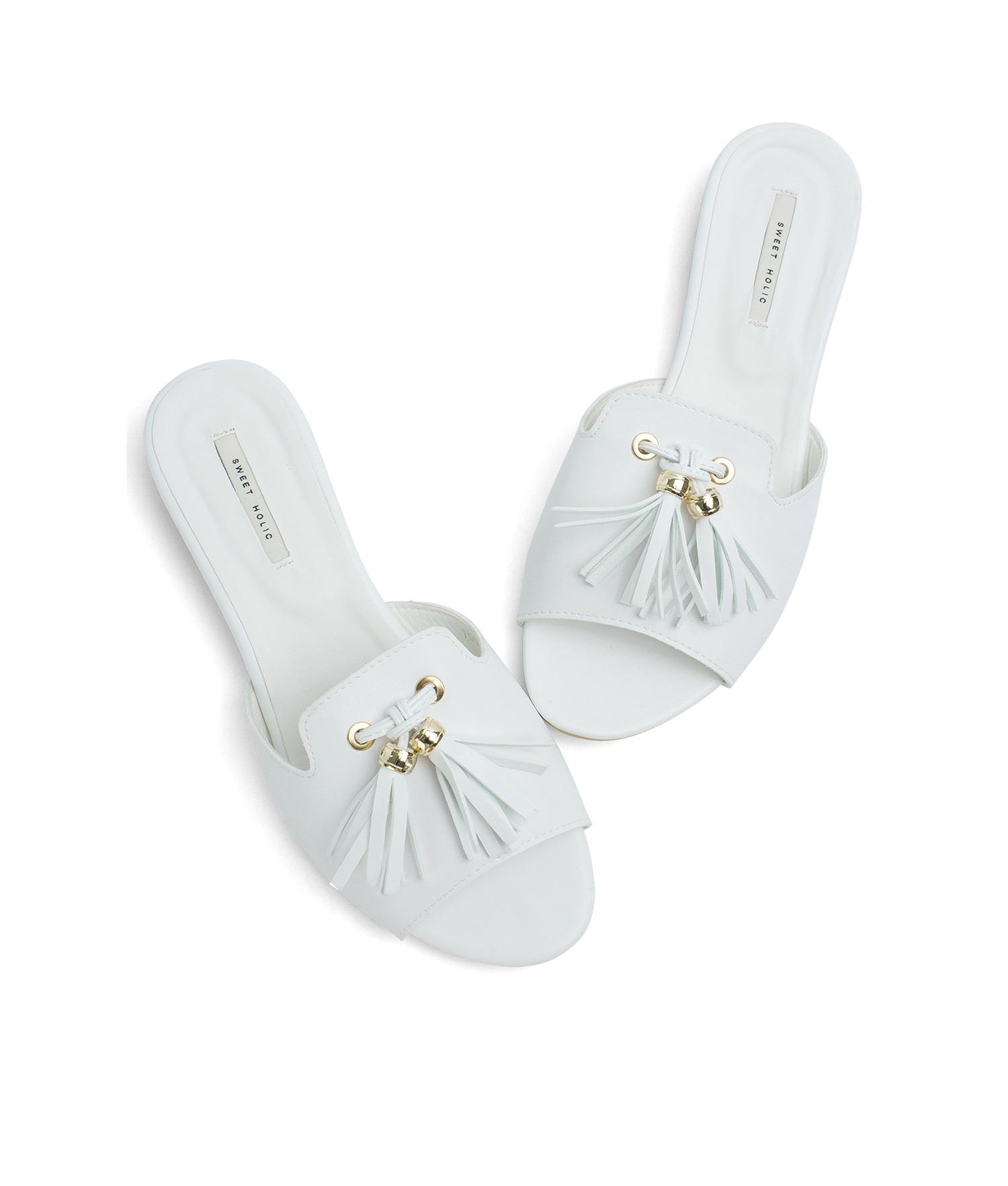AnnaKastle Womens Faux Leather Tassel Slides White 46d50c9ae236