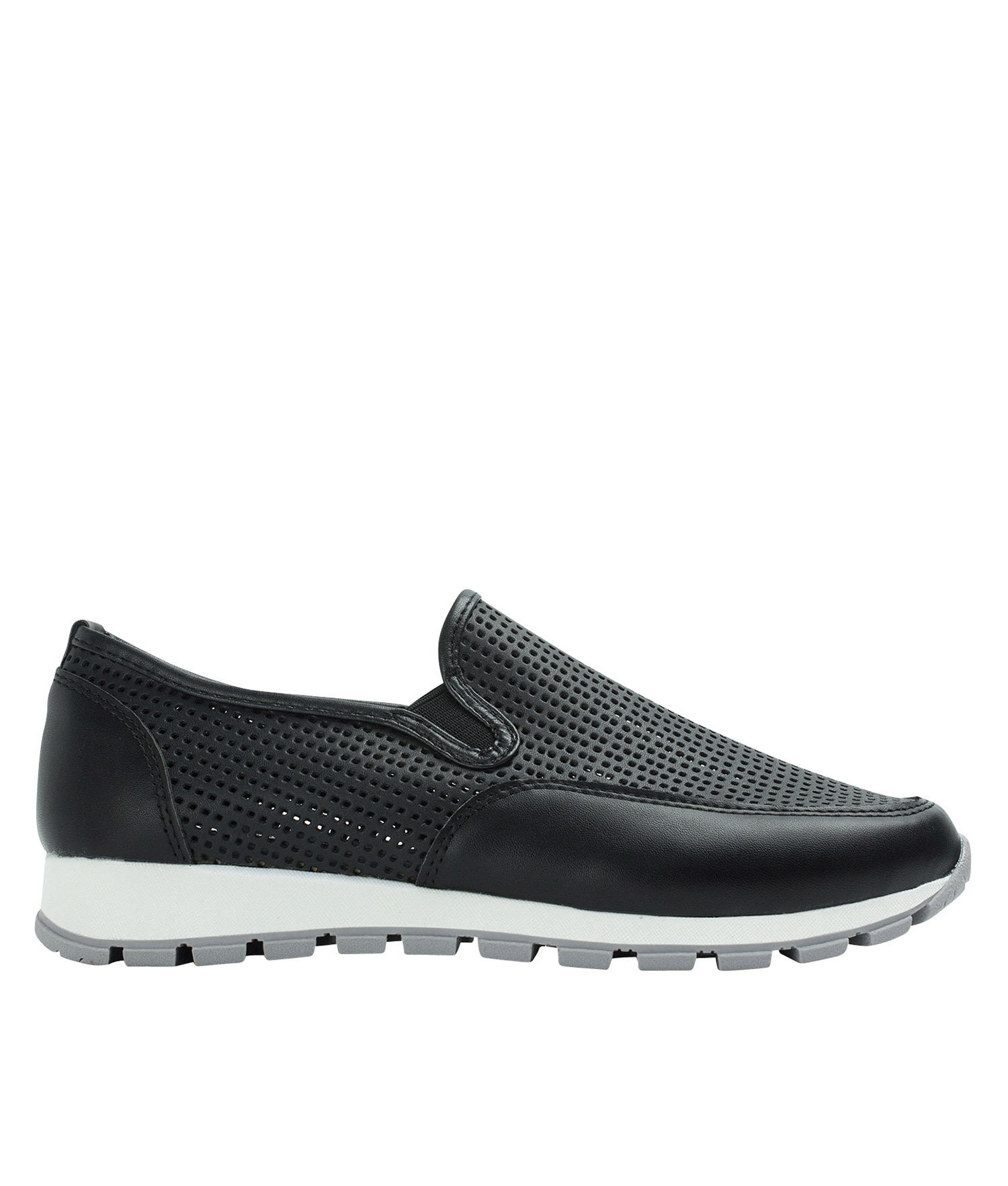 5f6bd490076a AnnaKastle Womens Perforated Slip-On Sneakers Black