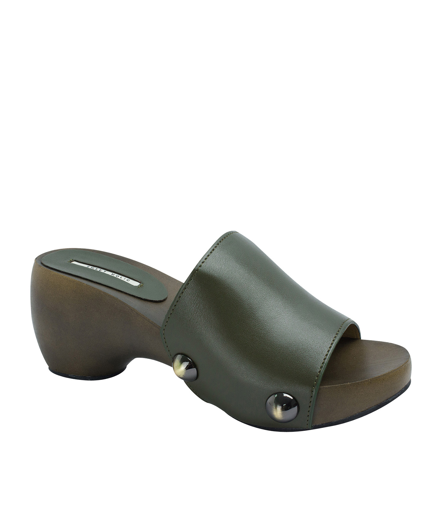 6c6bfcc9021 AnnaKastle Womens Bold Studded Platform Clog Sandals Army Green