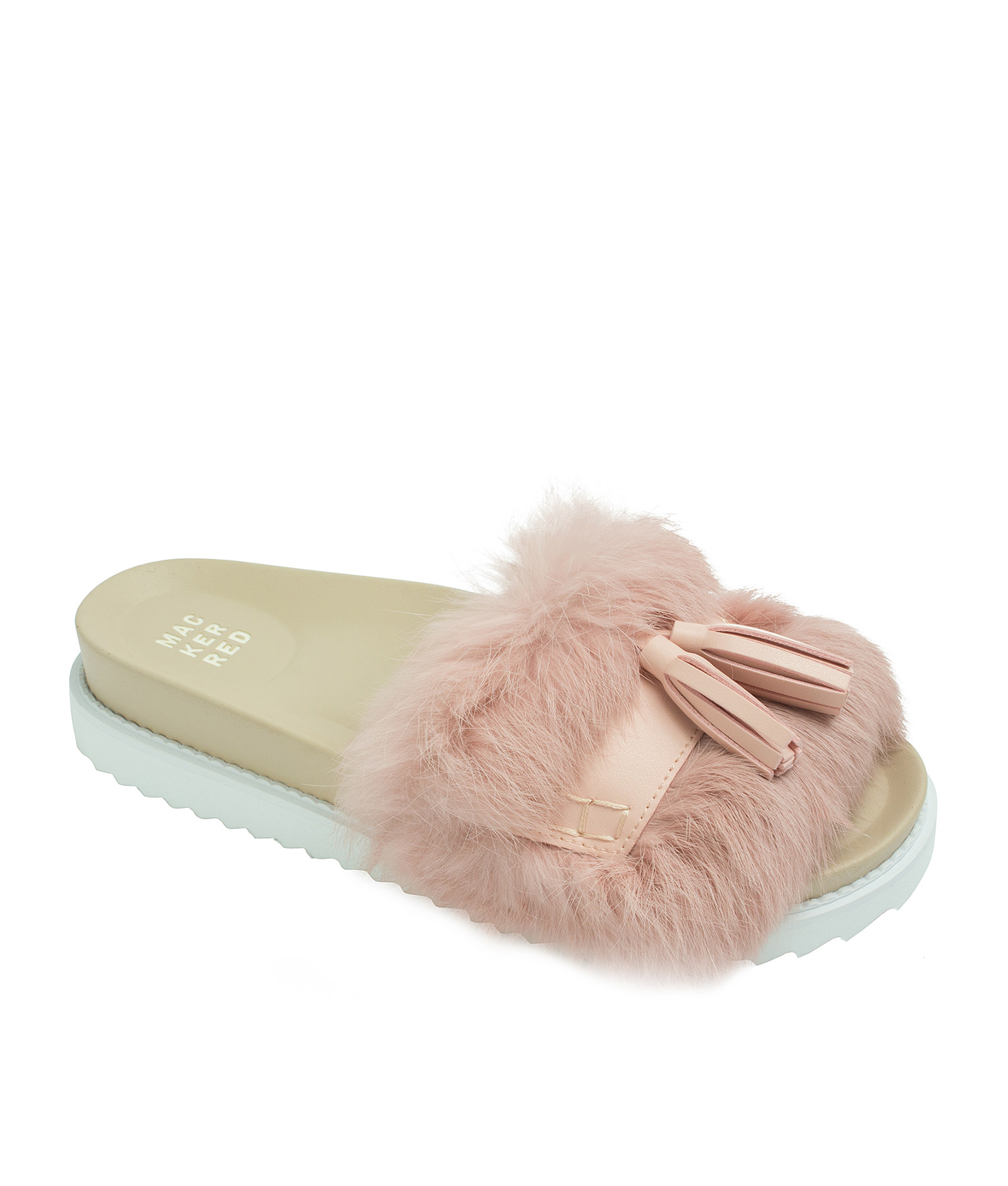 AnnaKastle Womens Cute Tassel Fur Slide Sandals Pink 26d231940f