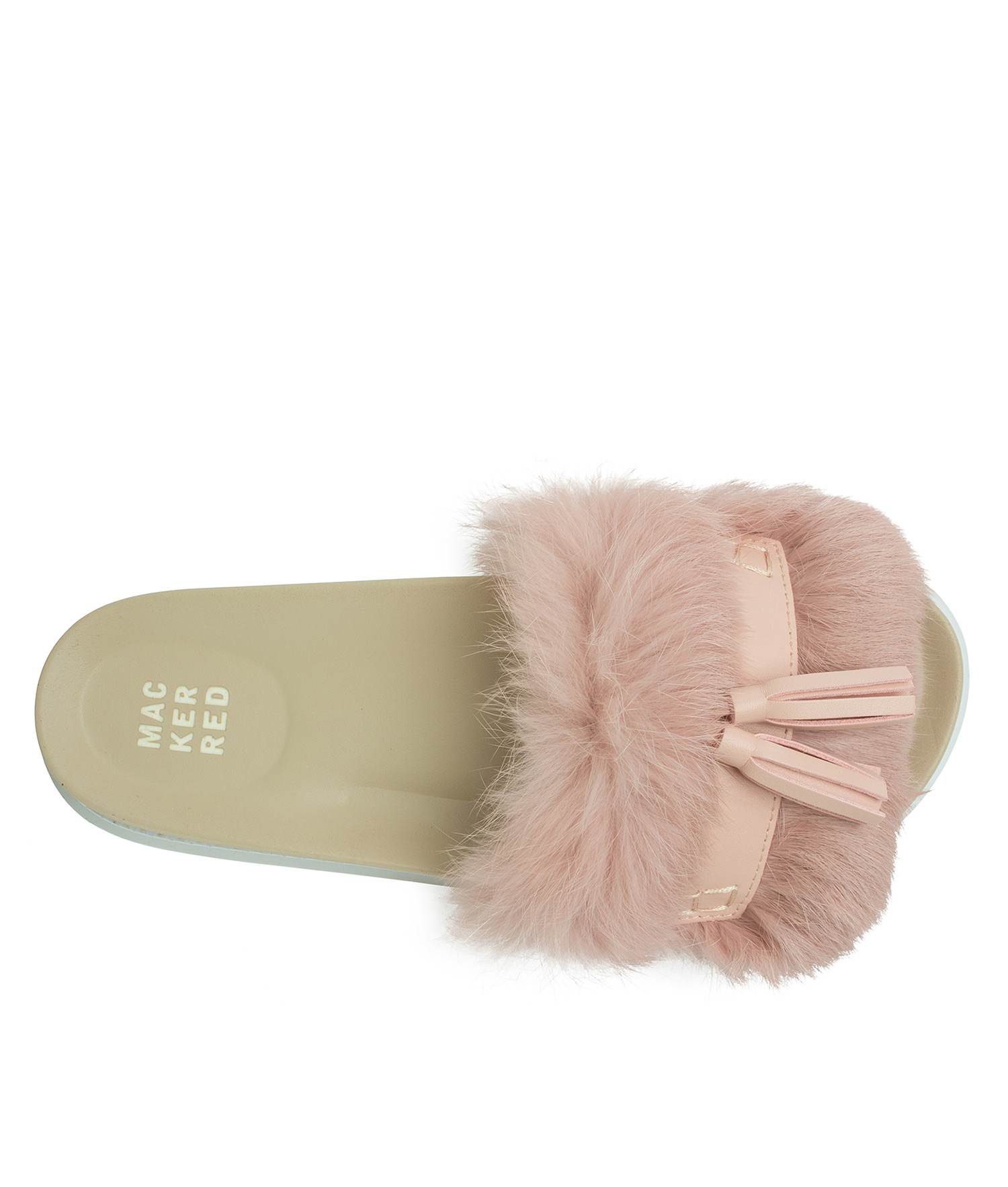9410f114959a AnnaKastle Womens Cute Tassel Fur Slide Sandals Pink