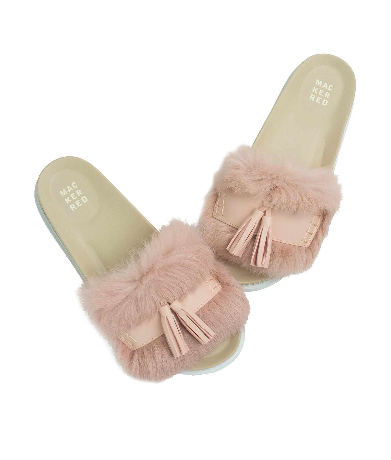 b38661bdb54d3f AnnaKastle Womens Cute Tassel Fur Slide Sandals Pink