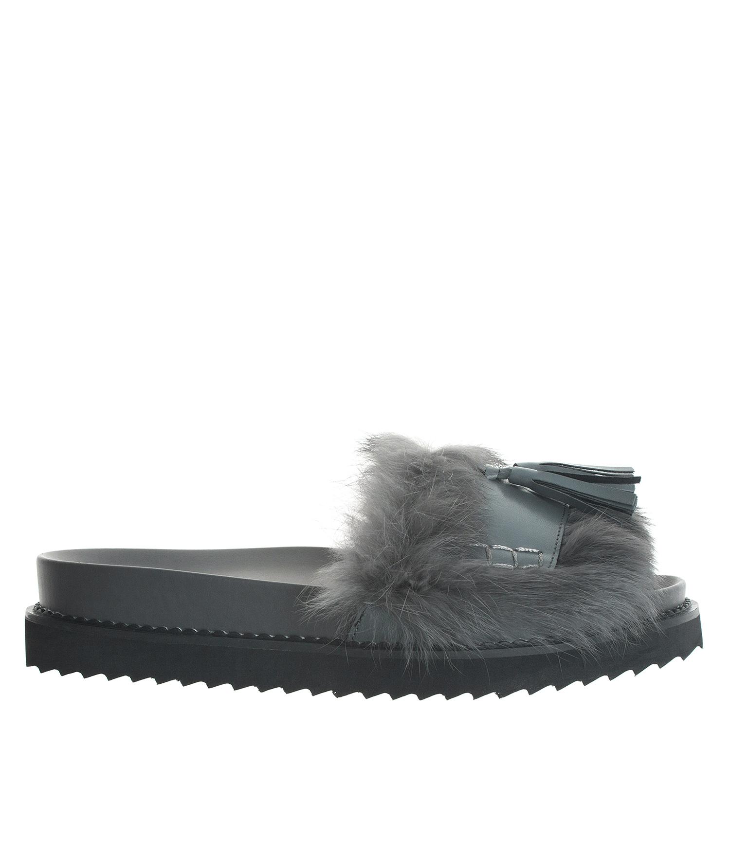 1c12bc1d996b AnnaKastle Womens Cute Tassel Fur Slide Sandals Gray