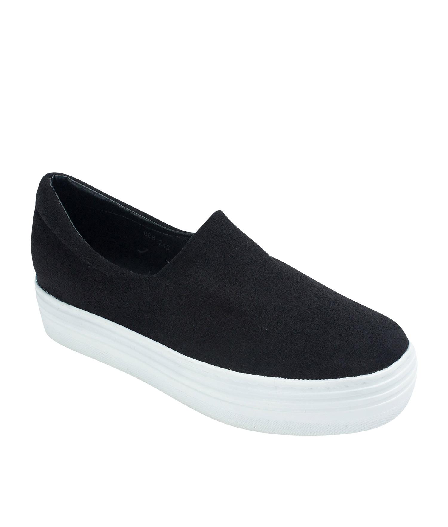 6e7e062cc5 AnnaKastle Womens Faux Suede Stretch Slip-On Platform Sneakers Black