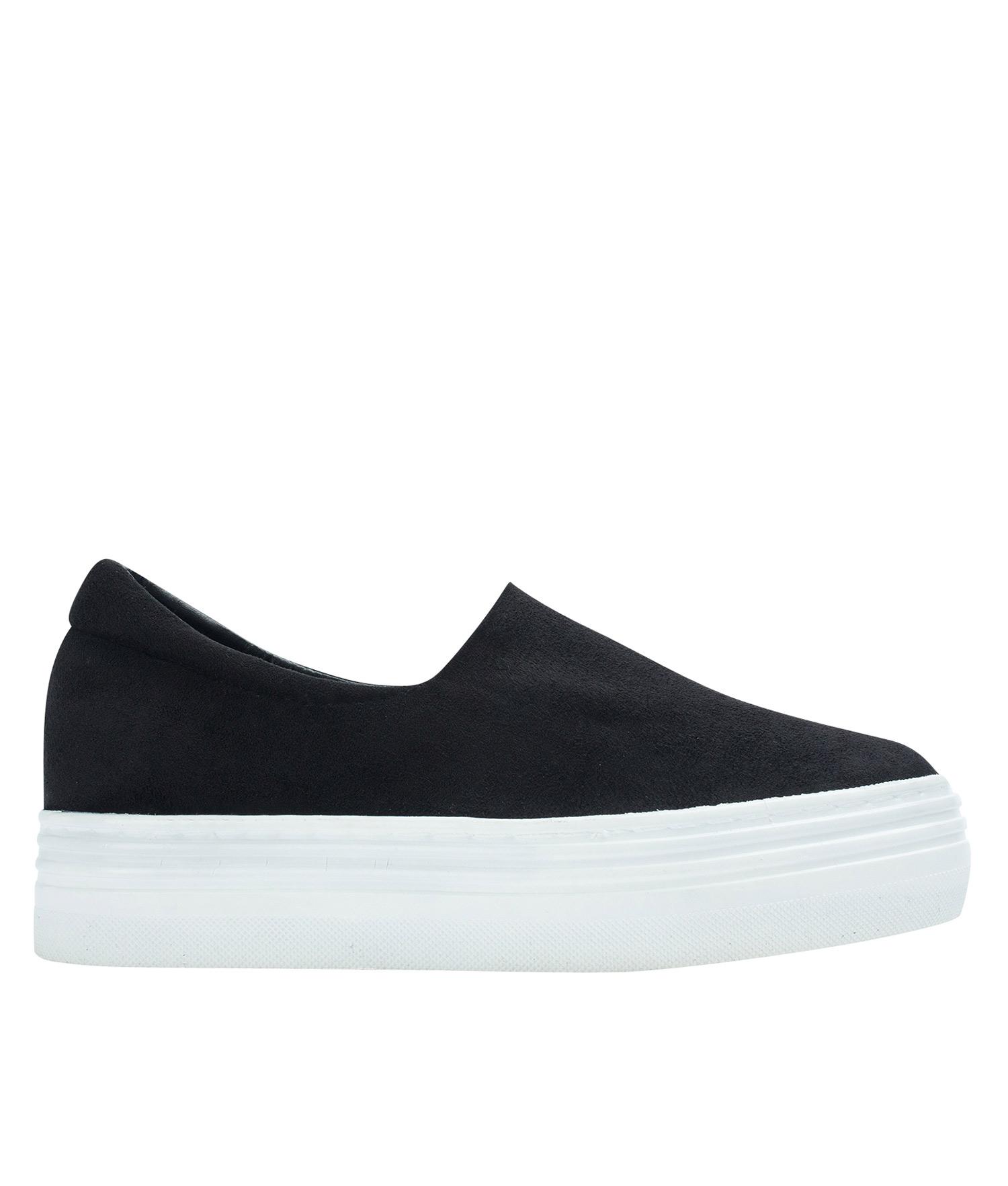 9c08e3564b3 AnnaKastle Womens Faux Suede Stretch Slip-On Platform Sneakers Black