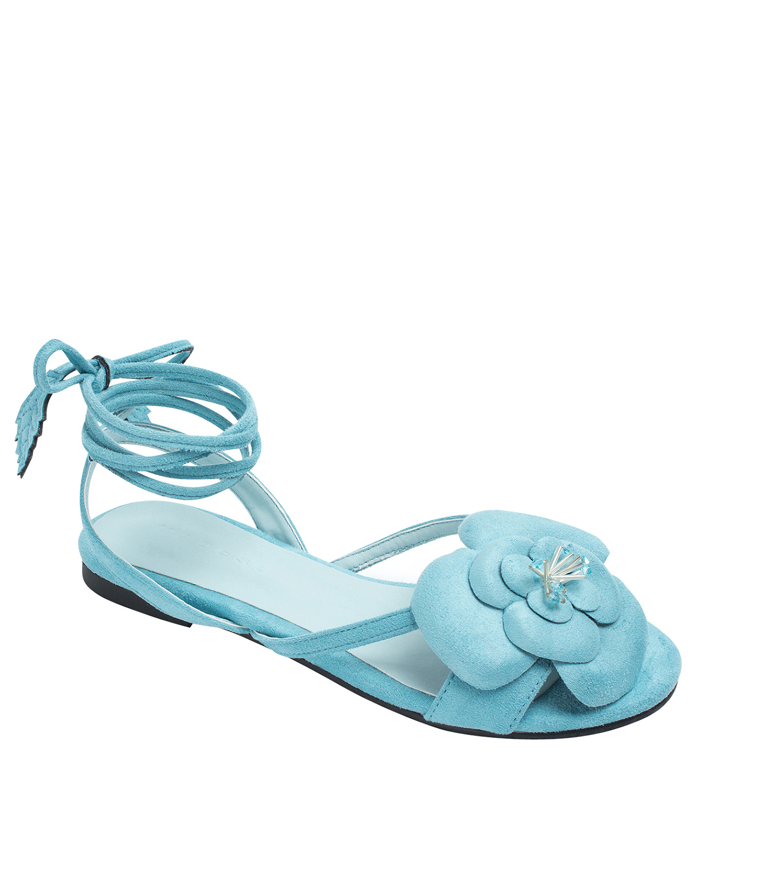 6a5fc48f0f51 Annakastle Womens Flower Ankle-Wrap Flat Sandals Light Blue
