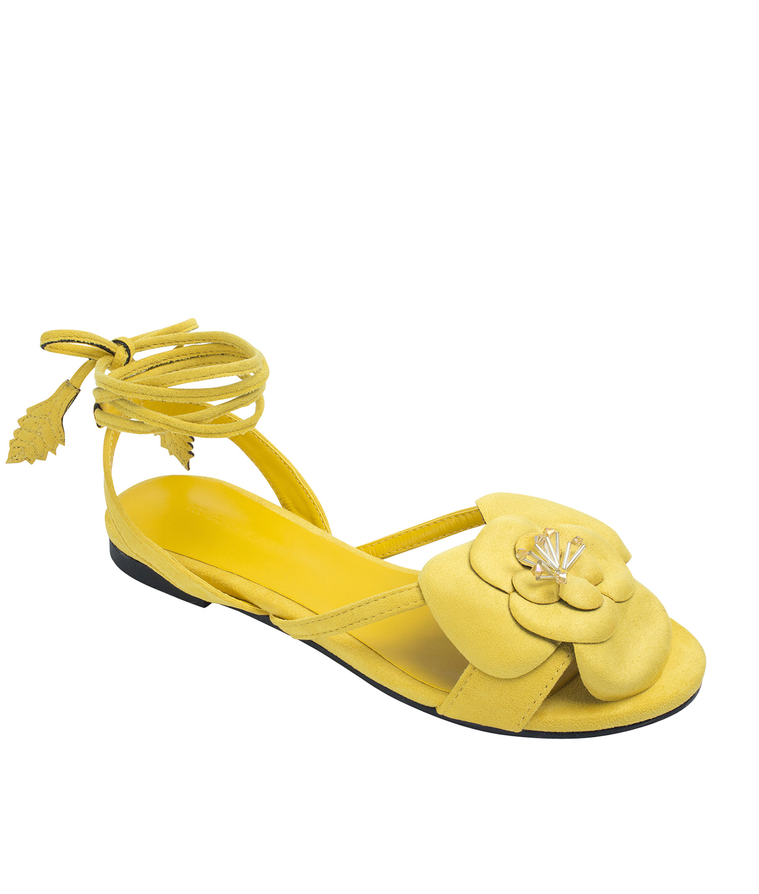 94f6e392c46 Annakastle Womens Flower Ankle-Wrap Flat Sandals Yellow