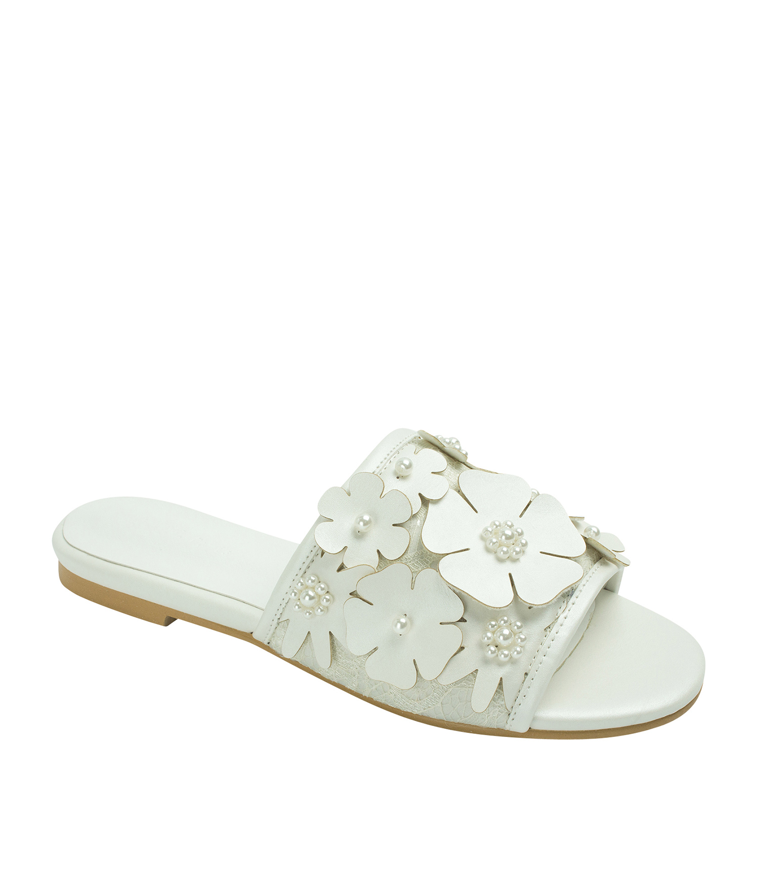62fa10e9ce0c Annakastle Womens Beads Flower Embellished Sandals White