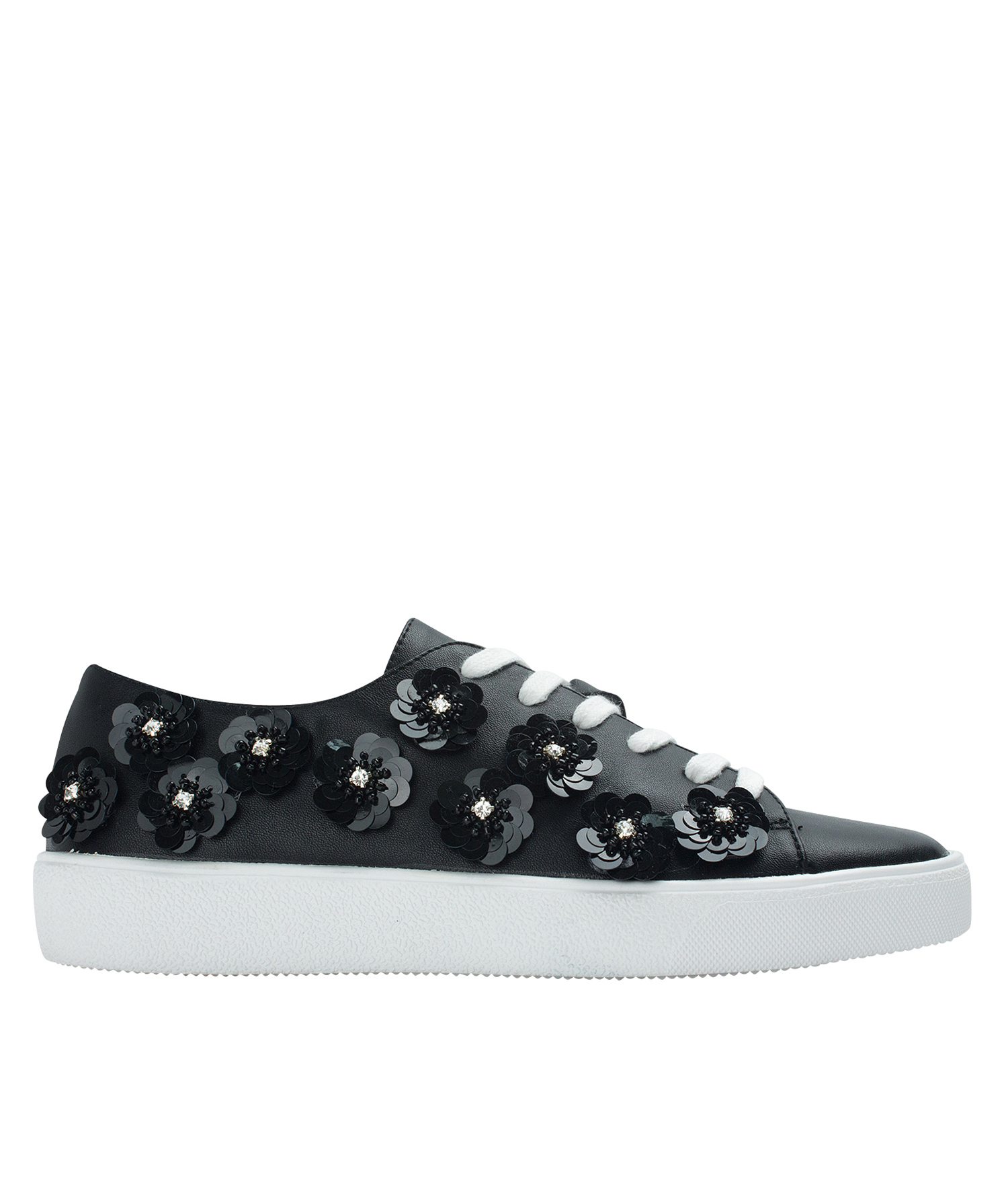 c760447e006f9c Annakastle Womens Sequin Flower Lace-Up Sneakers Black