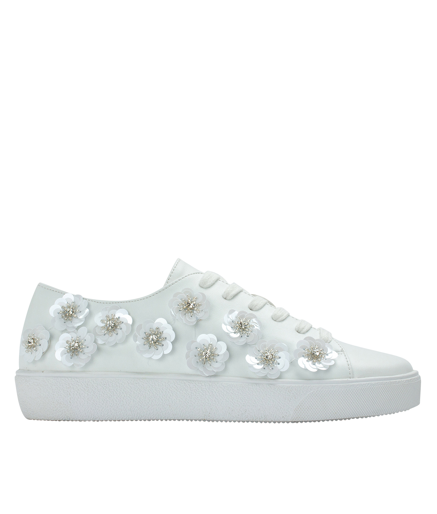 Annakastle Womens Sequin Flower Lace-Up Sneakers White 2eeb920f1d