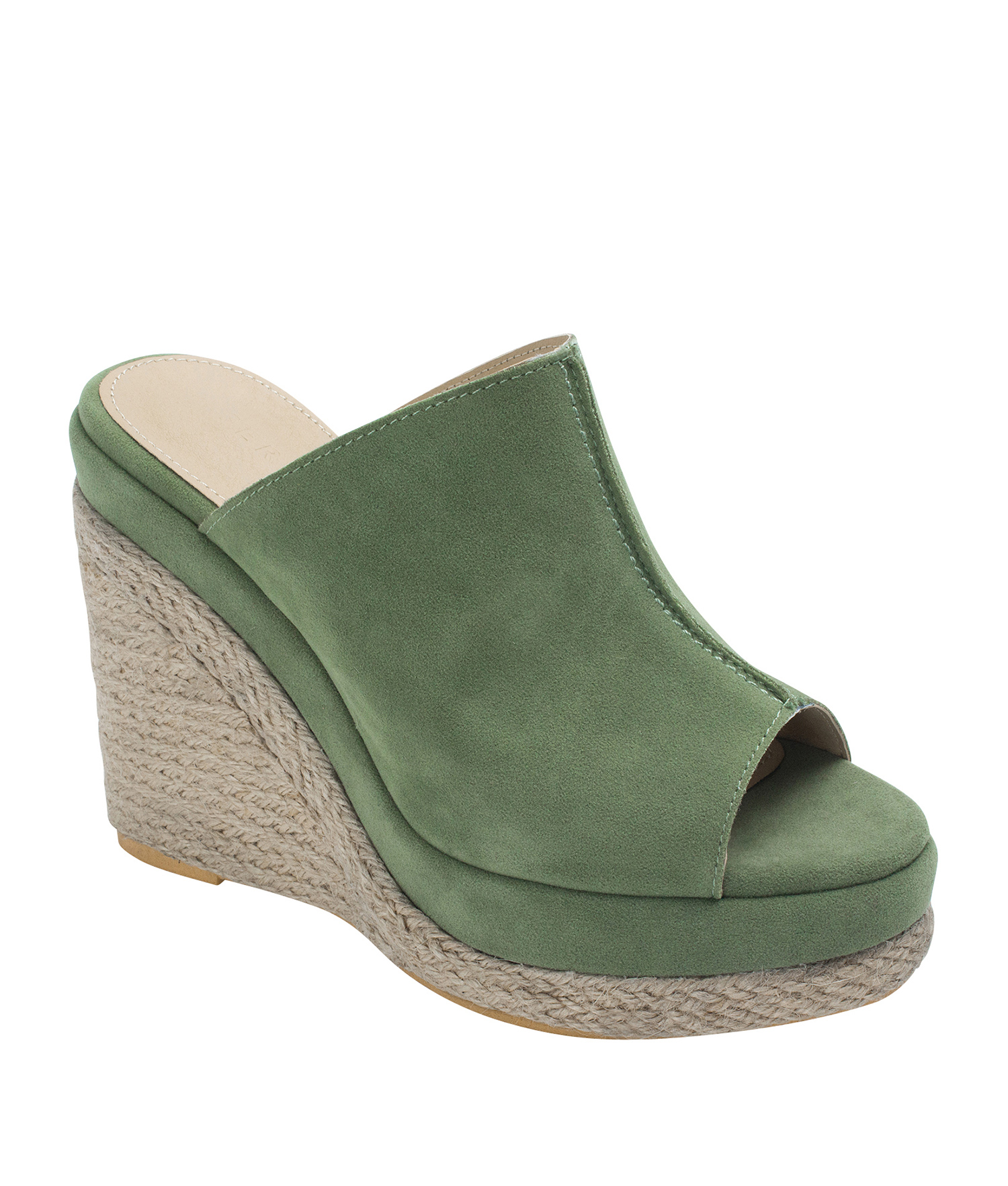 64ca78b065c Annakastle Womens Faux Suede Espadrille Wedge Mule Sandals Pale Green