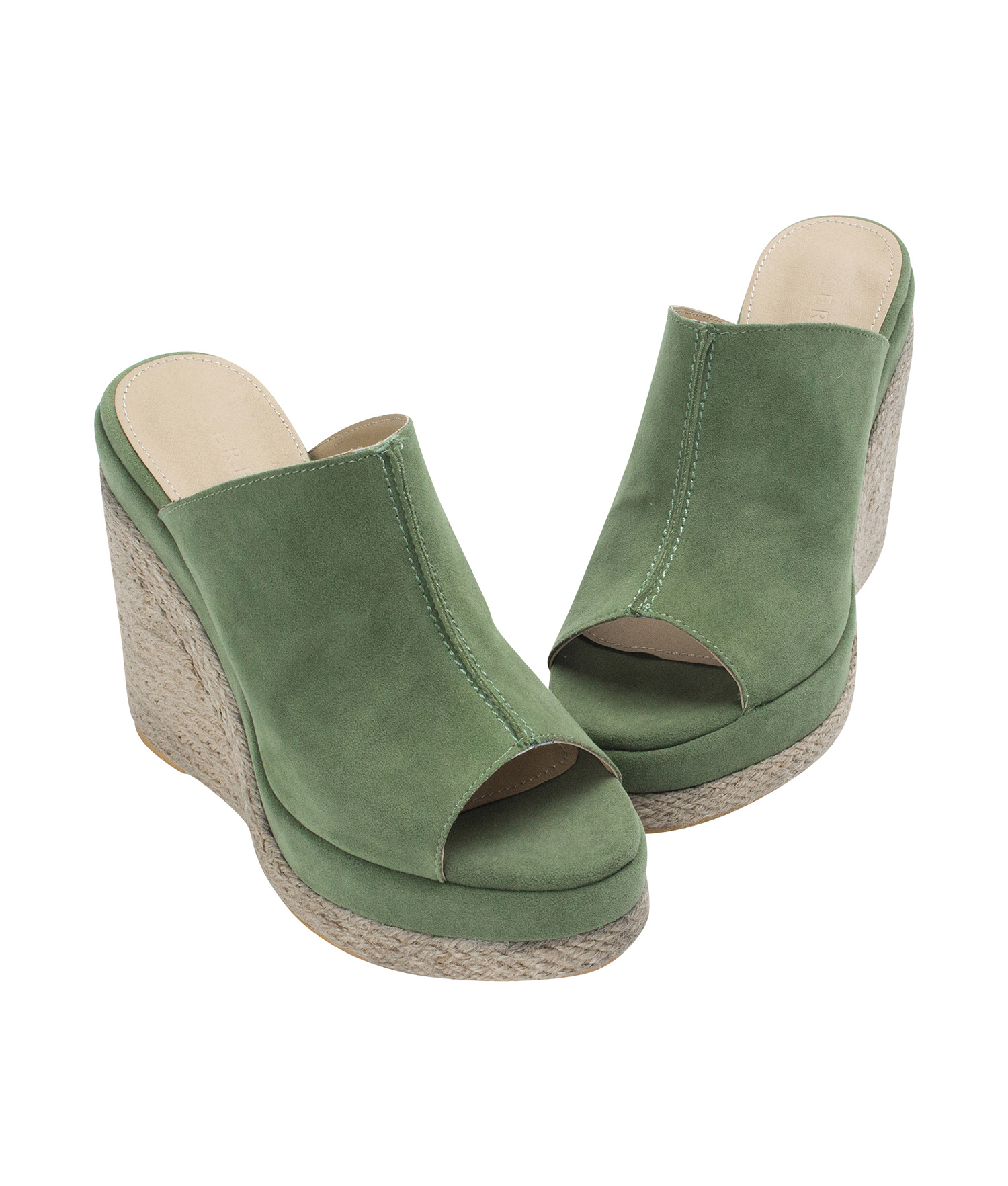 e83b24a5707a Annakastle Womens Faux Suede Espadrille Wedge Mule Sandals Pale Green