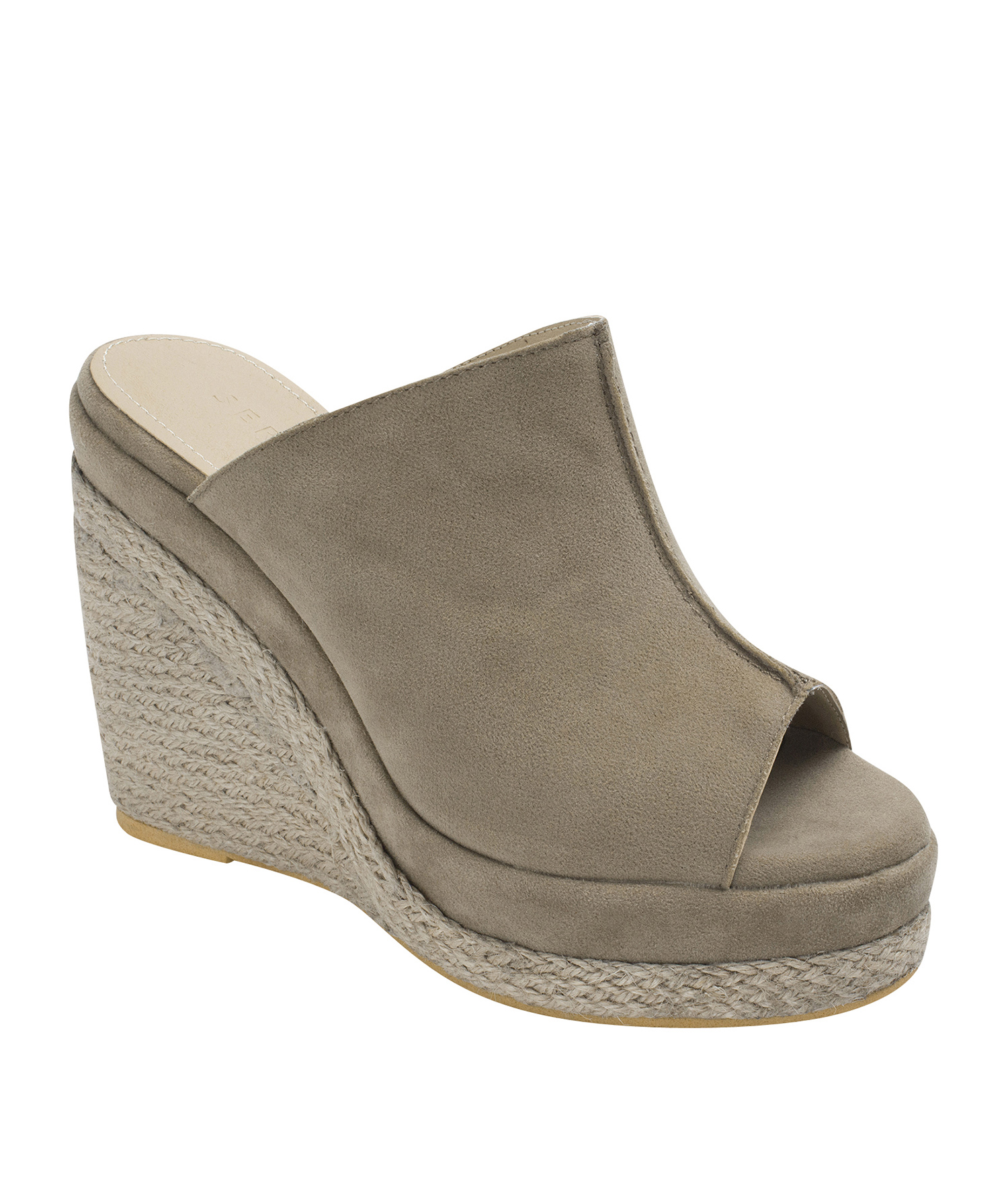 49e1ed754df Faux Suede Espadrille Wedge Mule Sandals