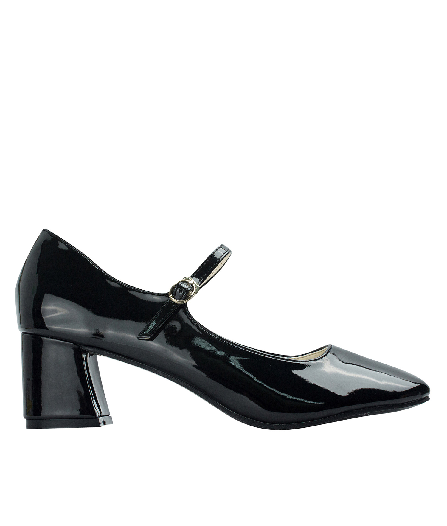 42c40056955 Faux Patent Mary Jane Chunky Heel Pumps