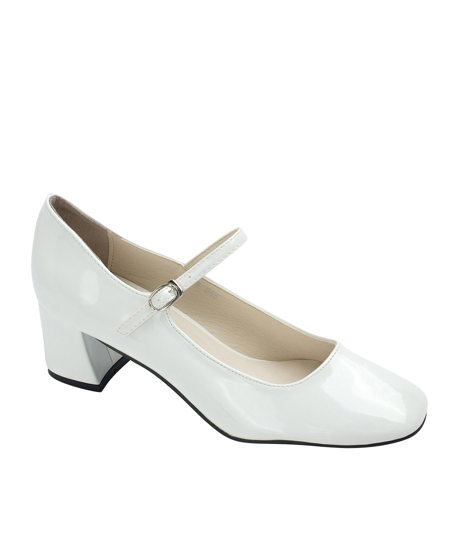 74b978bcef3 Annakastle Womens Faux Patent Mary Jane Chunky Heel Pumps White
