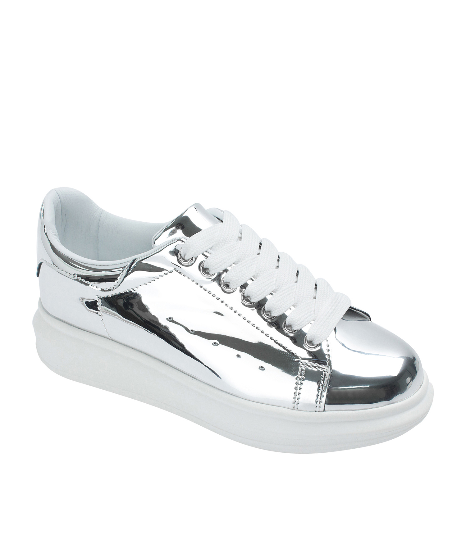 b774d5c2ec61 Annakastle Womens Faux Leather Chunky Sole Sneakers Silver