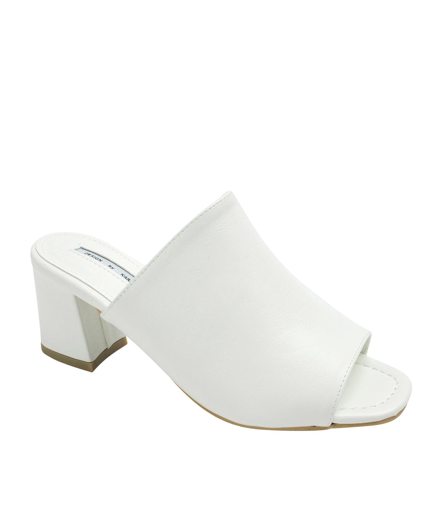 7f0d0bd7ff81e5 AnnaKastle Womens Faux Leather Open Toe Mule Heels White