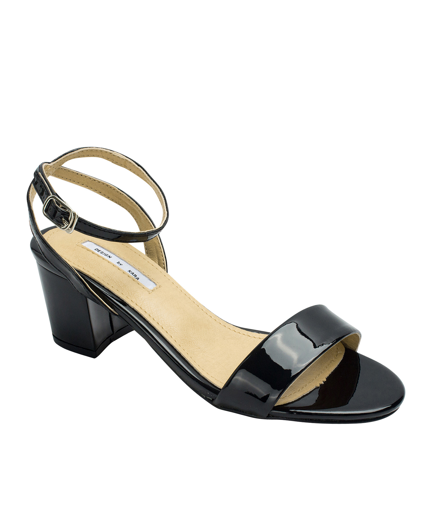 07b54131a13 AnnaKastle Womens Patent Ankle Strap Block Heel Sandals Black