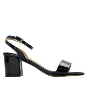 62cac79c28a ... AnnaKastle Womens Patent Ankle Strap Block Heel Sandals Black