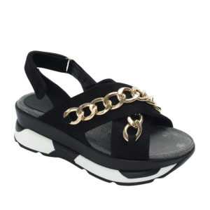 b076242b123ffc AnnaKastle Womens Criss Cross Chain Sporty Sandals Black