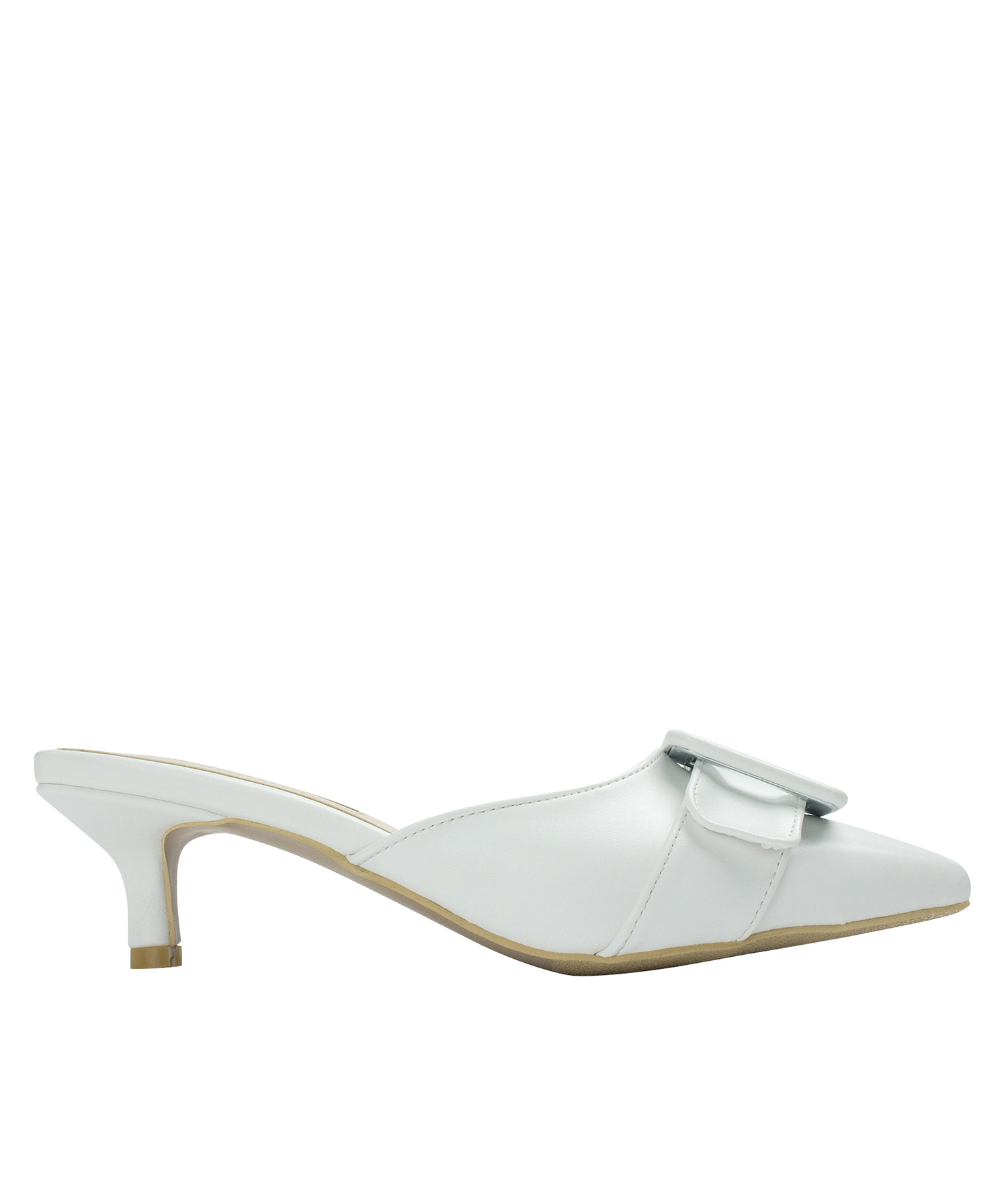 7a98b587542d AnnaKastle Womens Pointed Toe Kitten Heel Mules White