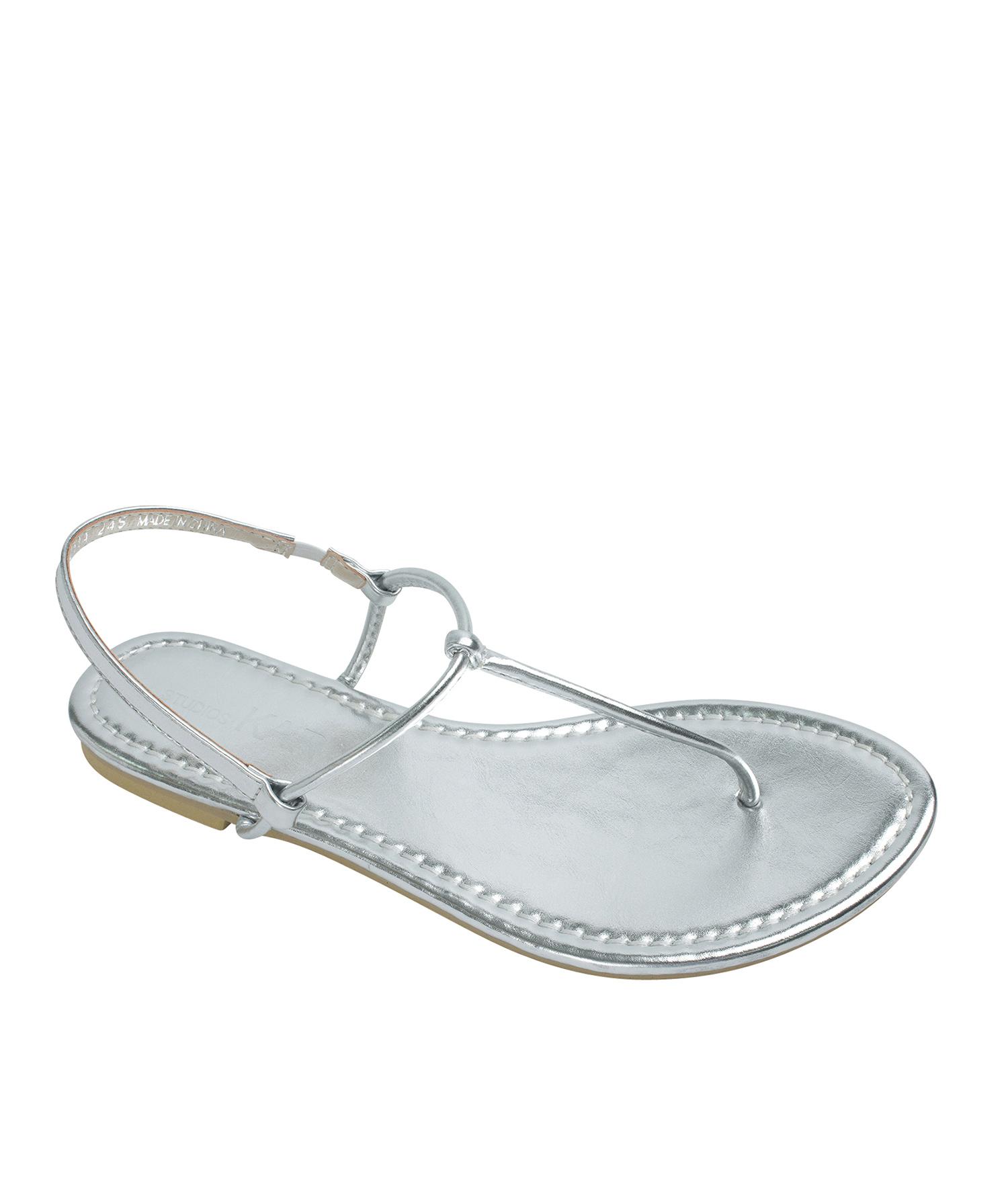 f3d198b09 AnnaKastle Womens T-Strap Thong Flat Sandals Silver