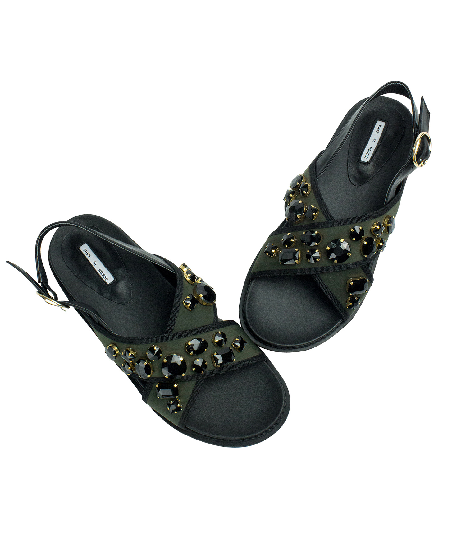 3ce60d2d0e9631 AnnaKastle Womens Jewelled Neoprene Criss Cross Flat Sandals Army Green