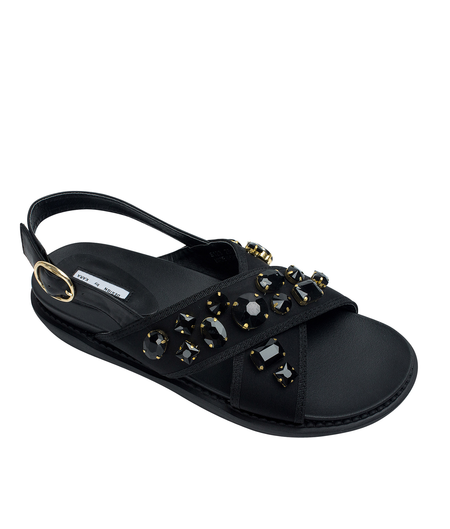 c53ba5583704bf AnnaKastle Womens Jewelled Neoprene Criss Cross Flat Sandals Black