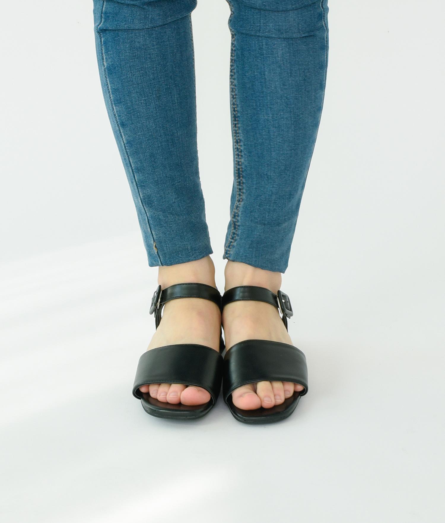 37f02655086 AnnaKastle Womens Vegan Leather Single Strap Sandals Black