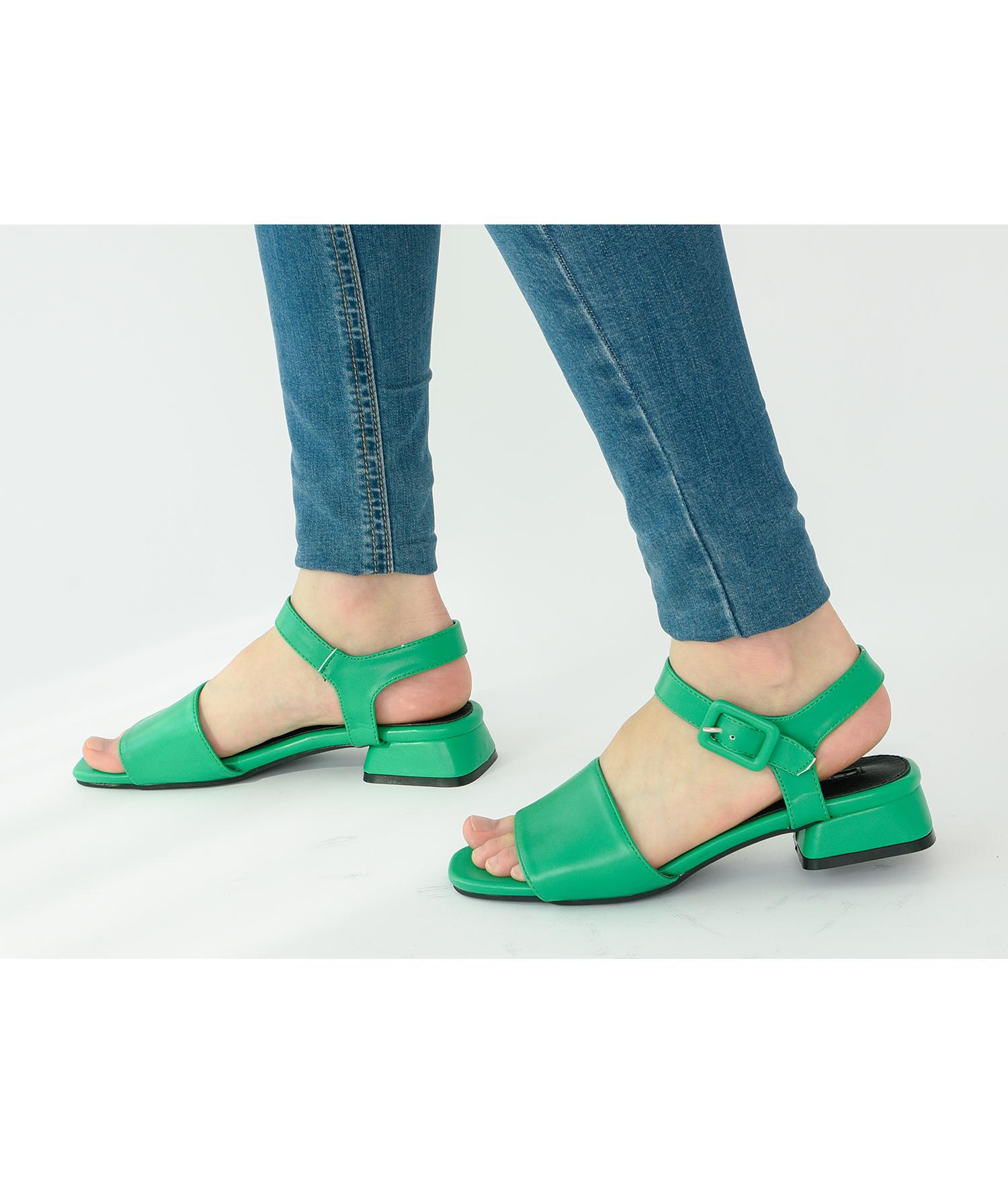 85ee581289c AnnaKastle Womens Vegan Leather Single Strap Sandals Green