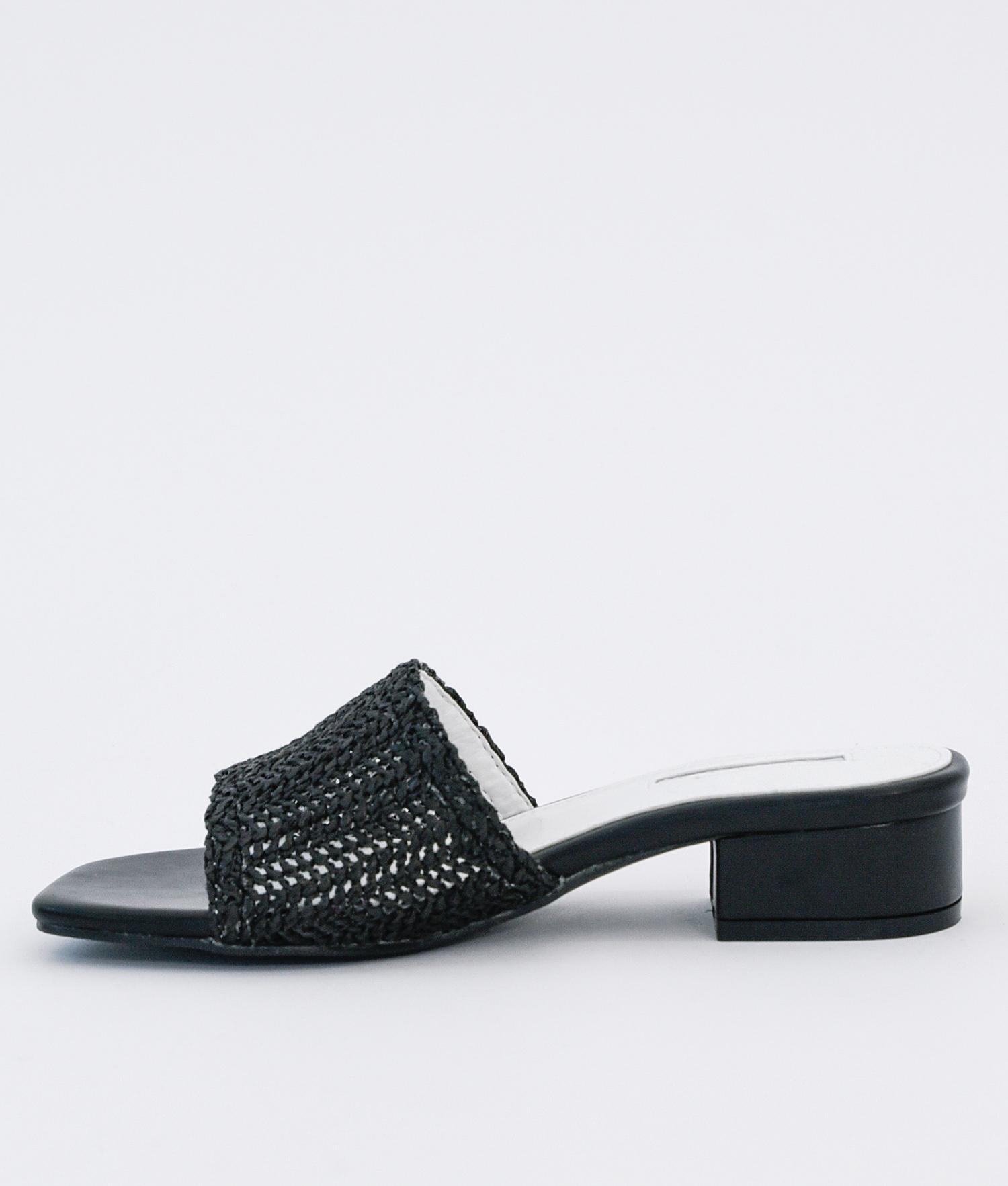 8f828428151 AnnaKastle Womens Woven Crochet Low Heel Mules Black