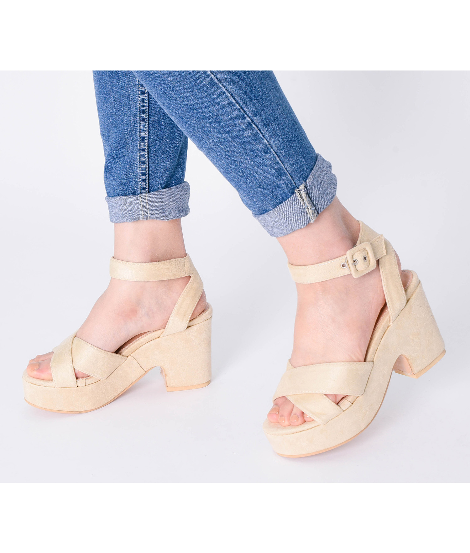 47475e11e401 AnnaKastle Womens Vegan Suede Ankle Strap Platform Sandals Beige