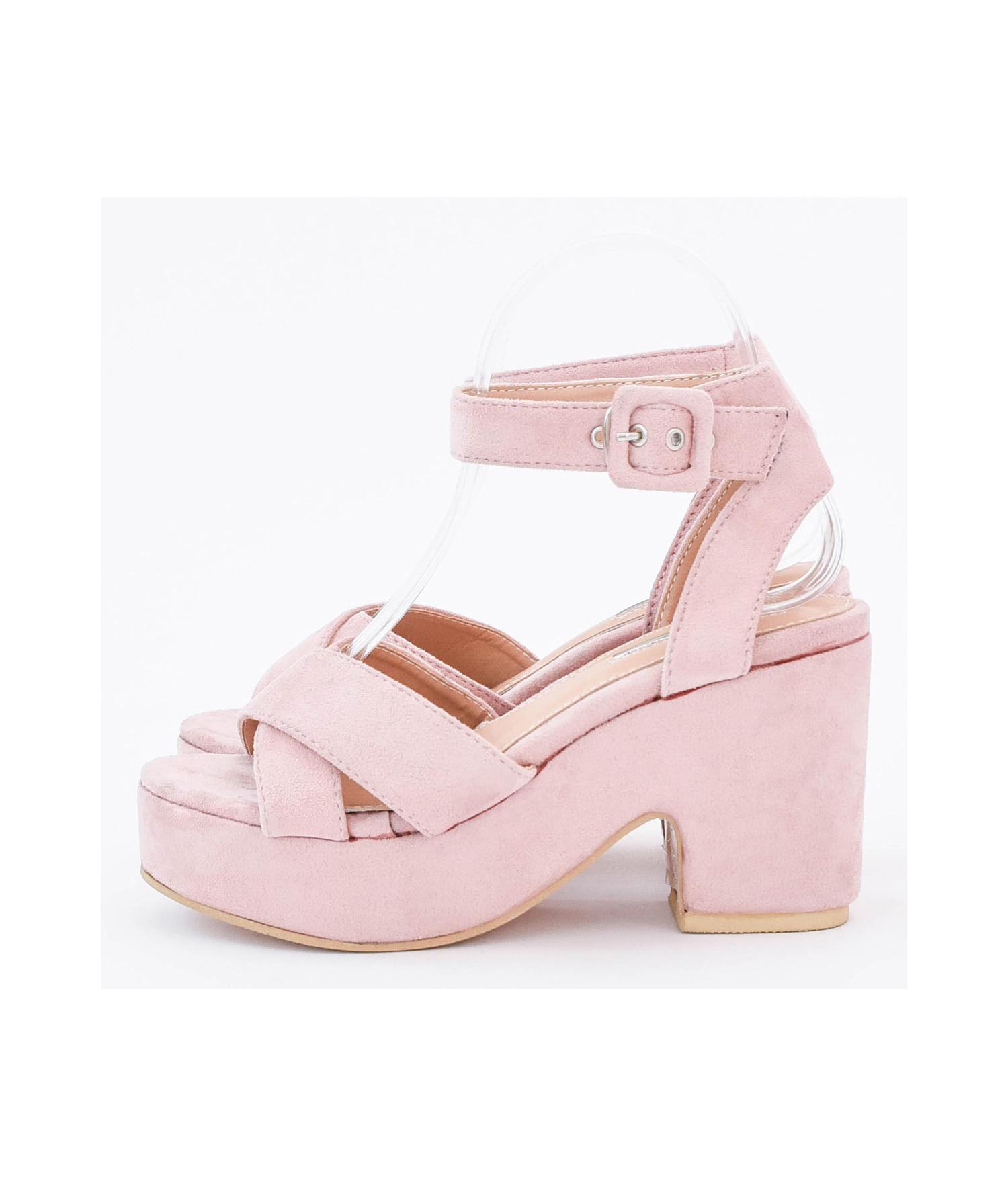 e94dc9d2d079 AnnaKastle Womens Vegan Suede Ankle Strap Platform Sandals Pink