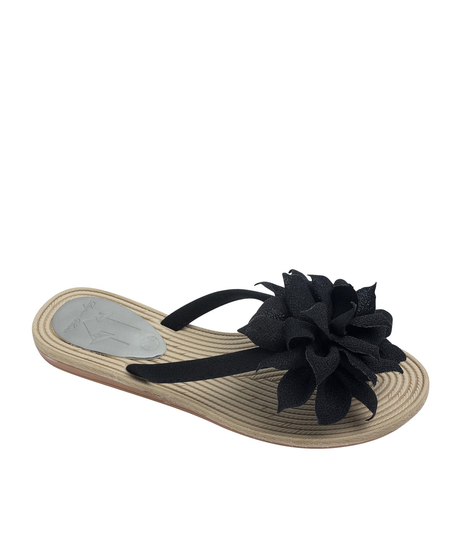 504003e3d9eb1 AnnaKastle Womens Big Flower Flip Flops Beach Sandals Black