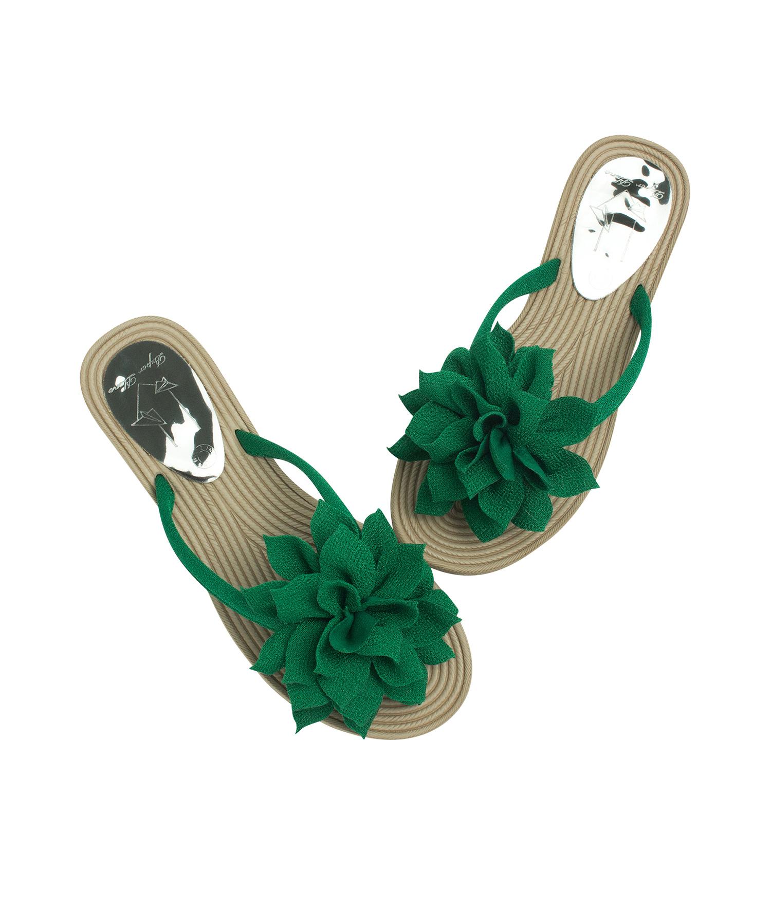 fbd00298e5483 AnnaKastle Womens Big Flower Flip Flops Beach Sandals Green