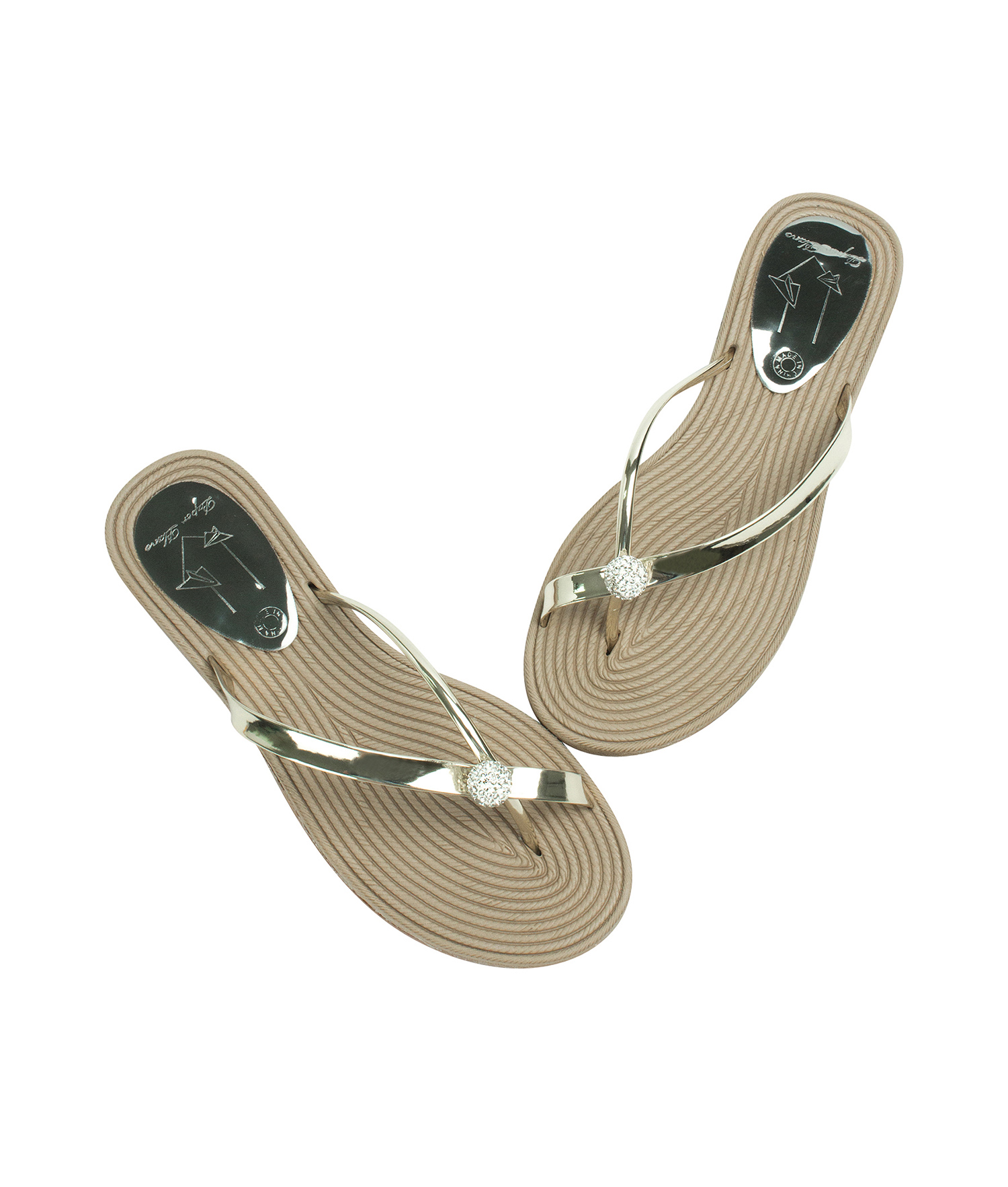 7c568a1cd AnnaKastle Womens Twinkle Toe Ring Flip Flops Gold