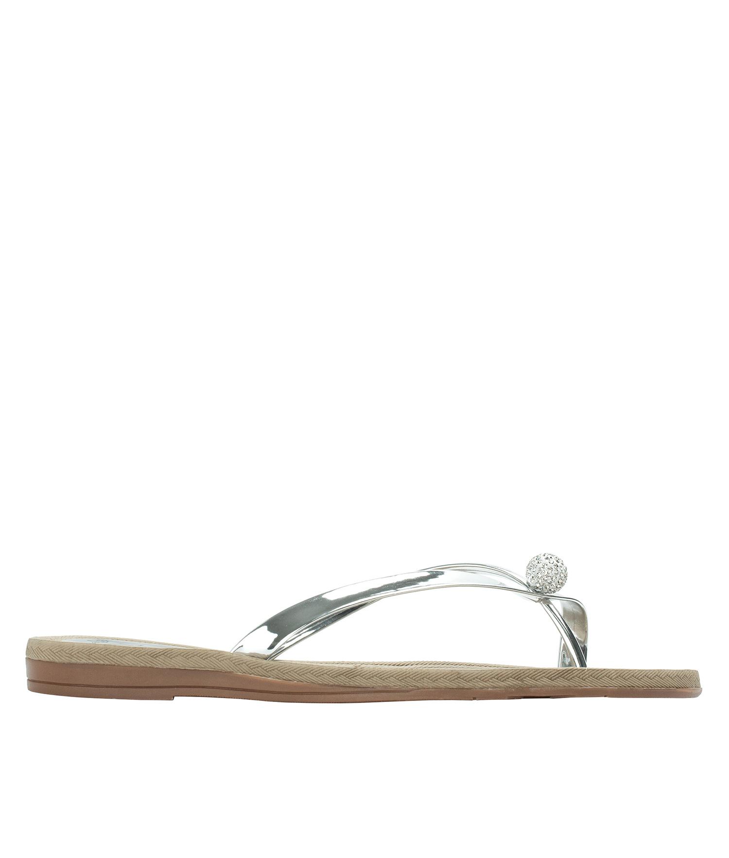 ef52e50cc AnnaKastle Womens Twinkle Toe Ring Flip Flops Silver