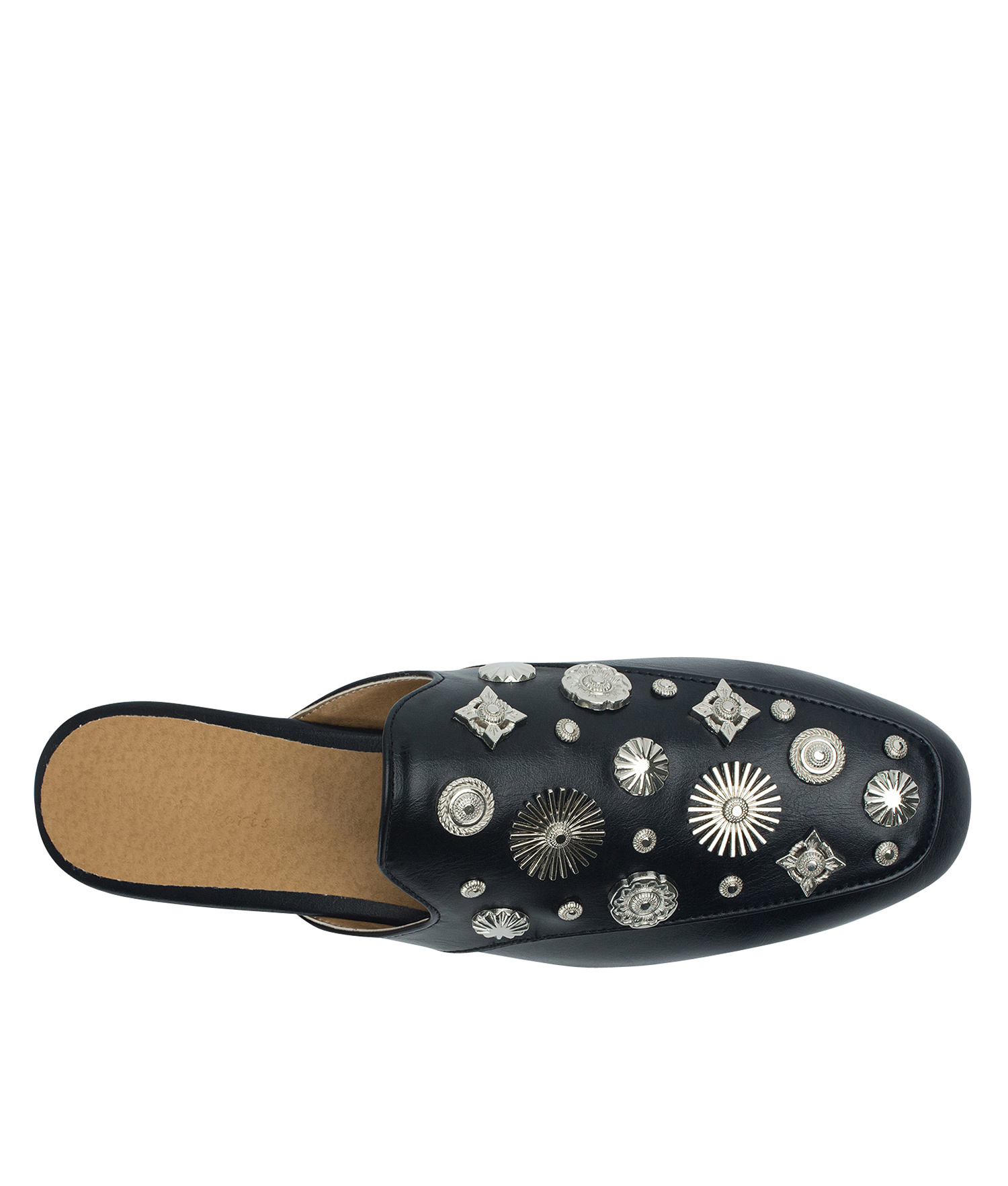 7f3aa324098 AnnaKastle Womens Multi-Shaped Studs Backless Loafer Mules Black
