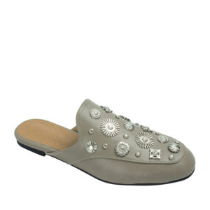 69ae2124383 AnnaKastle Womens Multi-Shaped Studs Backless Loafer Mules Pale Taupe