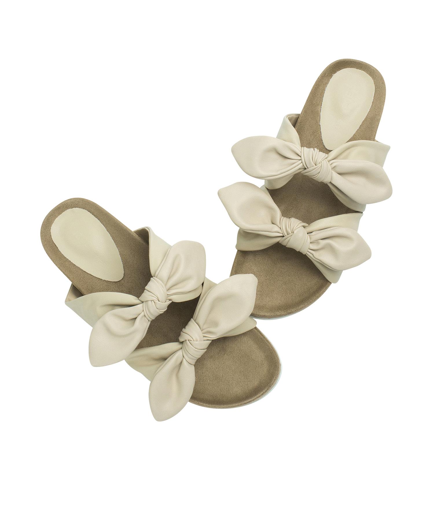 1dedaafa4 AnnaKastle Womens Double Knotted Bow Slide Sandals Beige