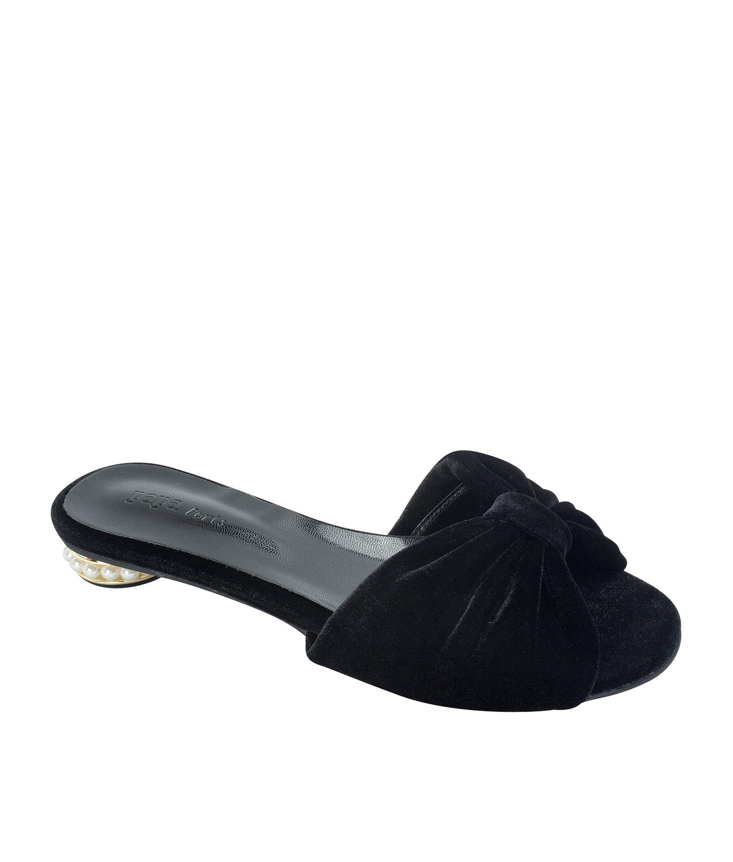 a6884f389608 AnnaKastle Womens Faux Pearl Heel Velvet Bow Slides Black