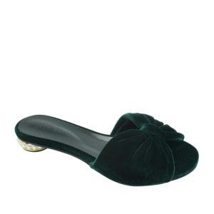 d5d915b952e0 AnnaKastle Womens Faux Pearl Heel Velvet Bow Slides Dark Green
